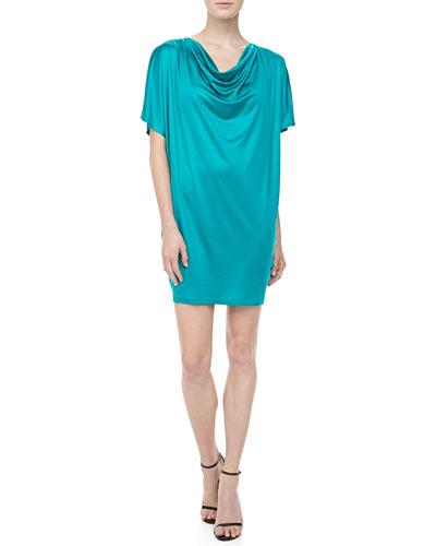 Silk Jersey Draped Dress, Turquoise