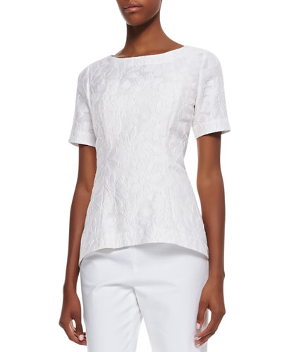 Heidi Jacquard Short-Sleeve Top
