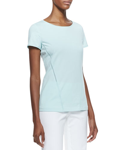 Mesh-Inset Scoop-Neck Tee, Dewdrop