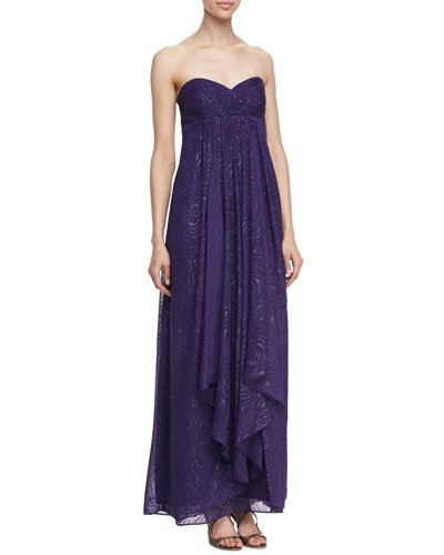 Clipped Swirl Allover Sequins Convertible Straps Sleeveless Gown