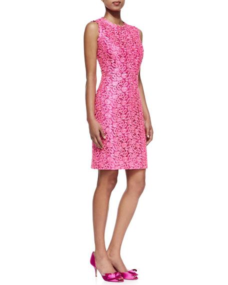 Della Lace Sheath Dress Hot Pink