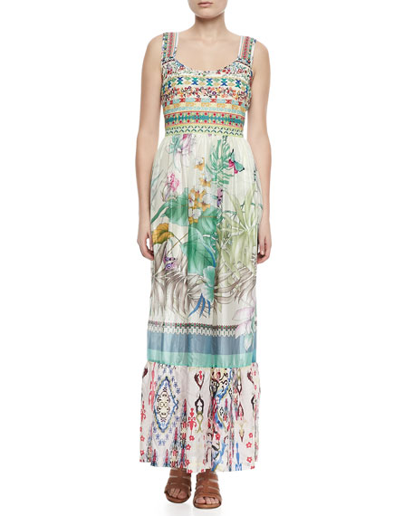 Johnny Was Collection Blue Springs Printed Silk Maxi Dress
