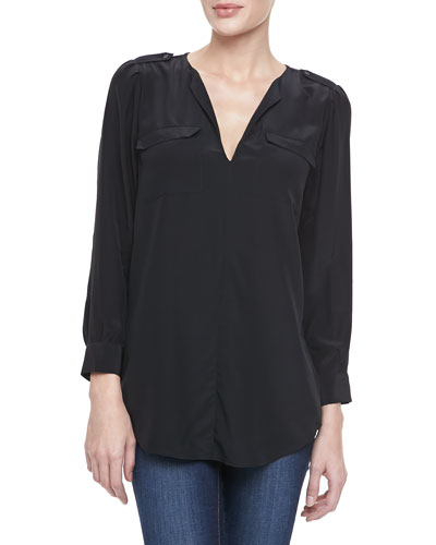 Marlo Two-Pocket Blouse, Caviar
