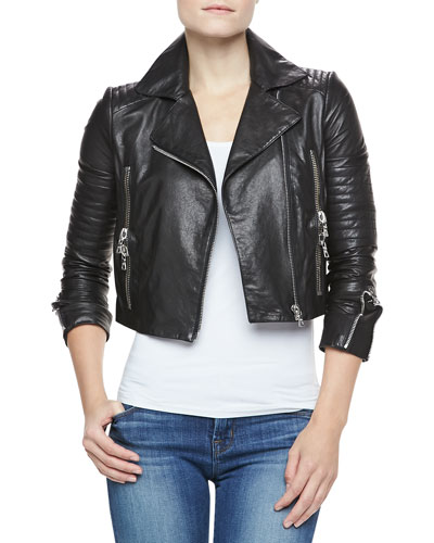 Aiah Cropped Leather Jacket