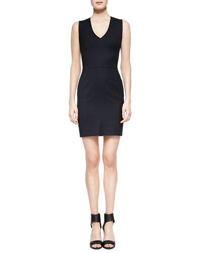 Fitted V-Neck Dress, Coastal