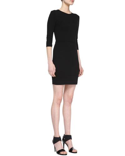 Ponte 3/4-Sleeve Sheath Dress
