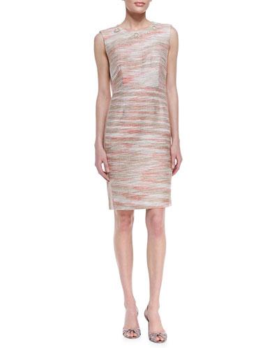 Space-Dye Embellished Boucle Dress