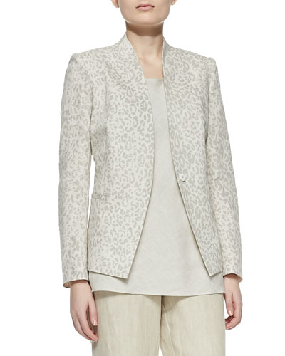 Animal-Print Linen-Cotton Jacket