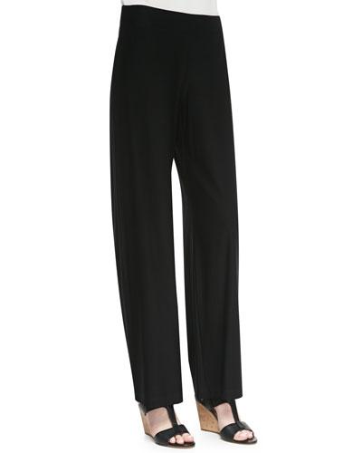 Modern Crepe Wide-Leg Pants, Black