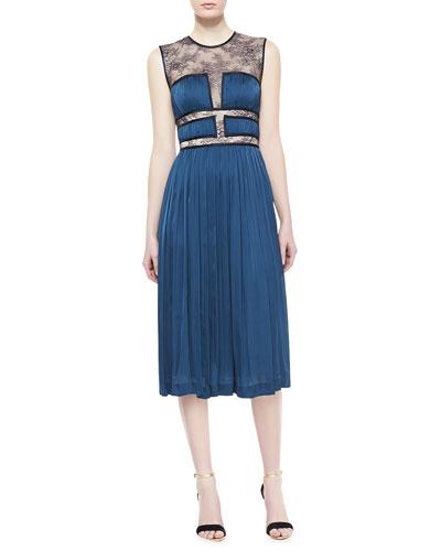 Rissa Lace-Bodice Silk Dress