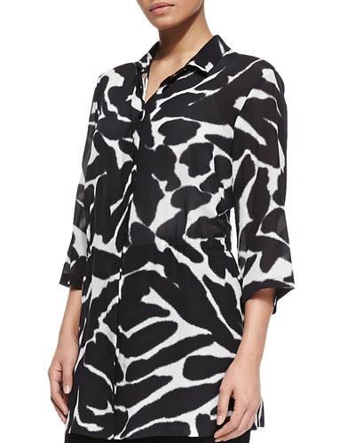 Silk Animal-Print 3/4-Sleeve Tunic, Women's
