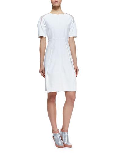 Poplin Mesh-Inset Short-Sleeve Dress, White