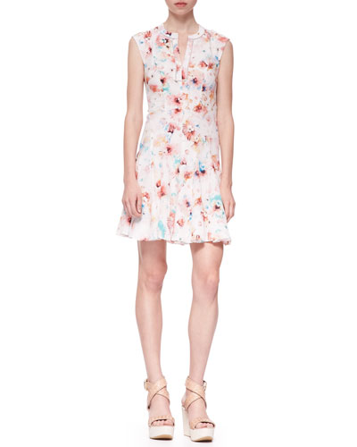 Poppy-Print Swingy Silk Godet Dress