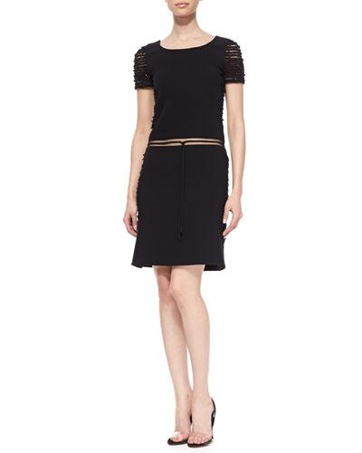 Barbed Wire Wool Dress, Black