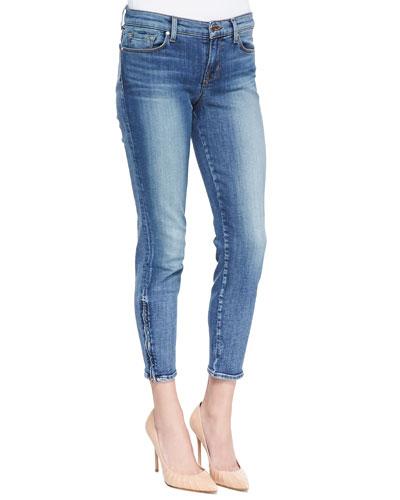 835 Denim Ankle Zip Capri Pants, Tone