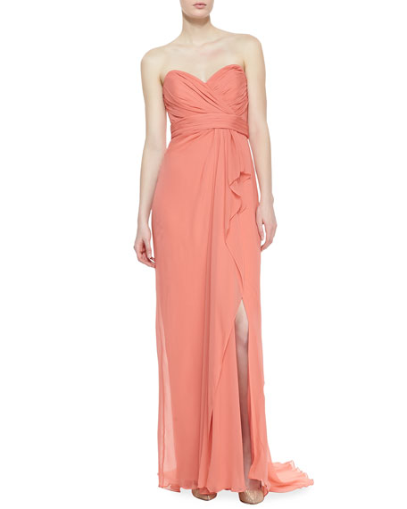 210bc264 Notte by Marchesa Strapless Ruched Bodice Gown, Salmon