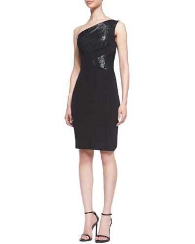 Metallic-Inset One-Shoulder Dress