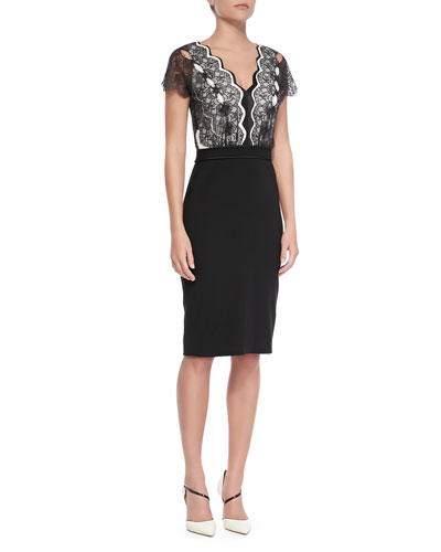 Short-Sleeve Lace-Bodice Cocktail Dress, Black/Cream