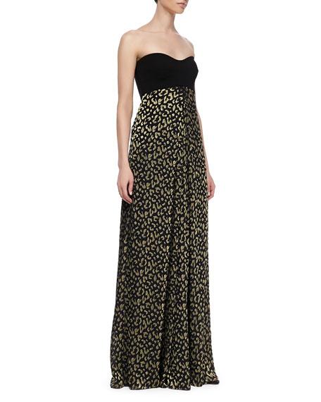 Adriana Strapless Silk Leopard Print Maxi Dress