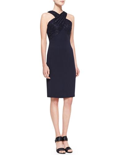Lace-Strap Halter Cocktail Dress, Navy