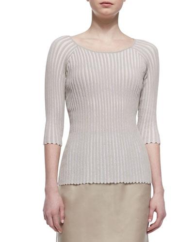 Pleated Stripe 3/4-Sleeve Sweater, Khaki