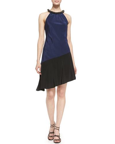 Halter Beaded Neck Colorblock Dress, Royal Navy/Black