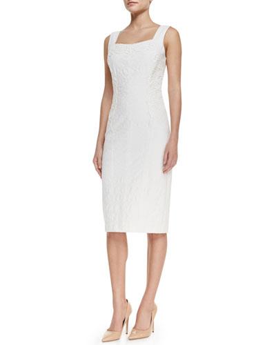 Sleeveless Lace-Panel Cocktail Dress, White