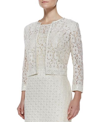 Cropped Lace Jacket, Ivory