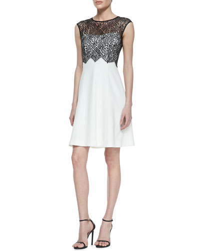 Lace Bodice Overlay Cocktail Dress, Black/White