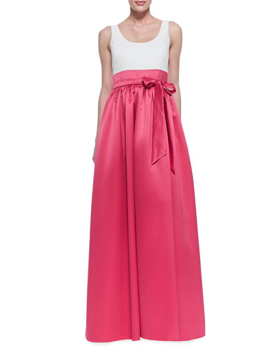 Sleeveless Tie Belt Combo Gown, Ivory/Raspberry