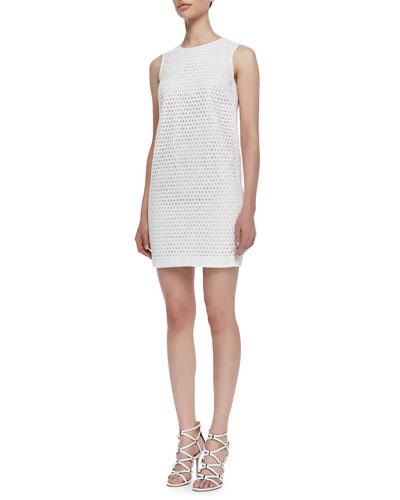 Sleeveless Eyelet Sheath Dress, White