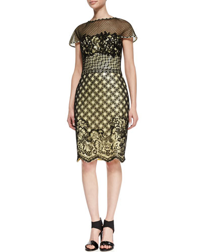 Short Sleeve Mixed Media Lace Cocktail Dress, Black/Lemon