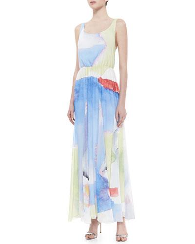 Nina Watercolor-Printed Maxi Dress