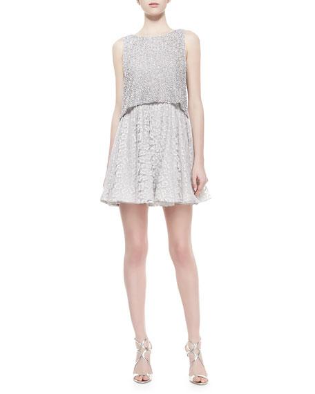 127b3a716 Alice + Olivia Hilta Beaded Combo Swing Dress