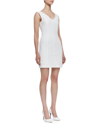 Molana Sleeveless Seamed Sheath Dress, White