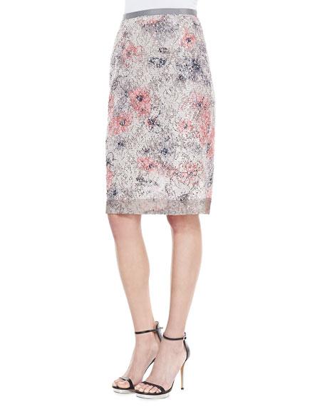 3a18fa58f1 Byron Lars Beauty Mark Sequin Floral Pencil Skirt, Ecru/Blush