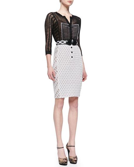 eba0d5a7 Byron Lars Beauty Mark Belted Mixed-Media Sheath Dress, Black/White