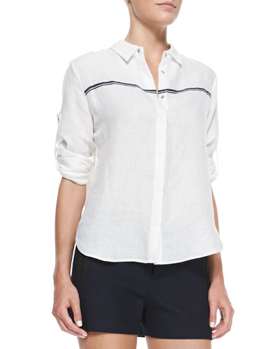 Swan Striped Voile Blouse