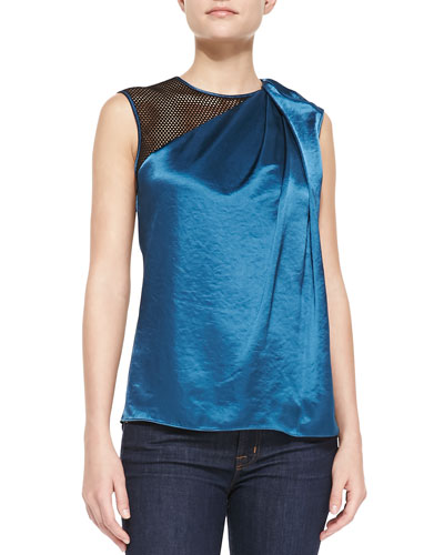 Asymmetric-Neck Draped Top, Dark Cadmium