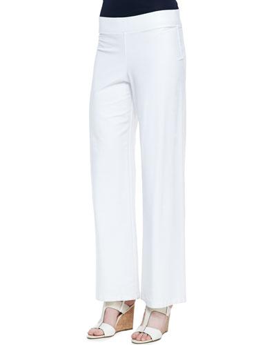 Washable-Crepe Boot-Cut Pants, White, Petite