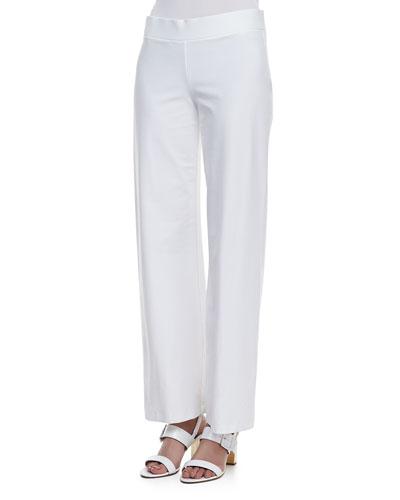 Stretch Crepe Modern Wide-Leg Pants, White, Petite