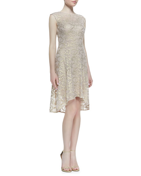 e2569abd787f Kay Unger New York Cap-Sleeve Metallic Lace High-Low Cocktail Dress,  Rose/Gold