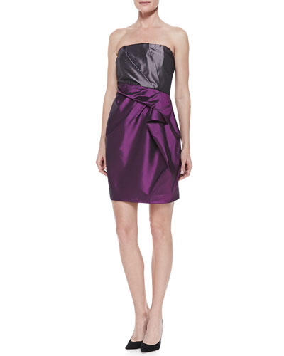 Strapless Colorblock Organza Dress, Amethyst/Steel