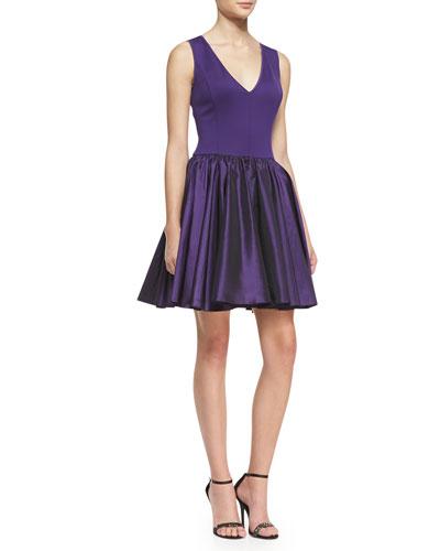 Sleeveless Fit-&-Flare Combo Dress, Purple