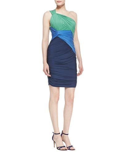 Ruched Colorblock One-Shoulder Dress