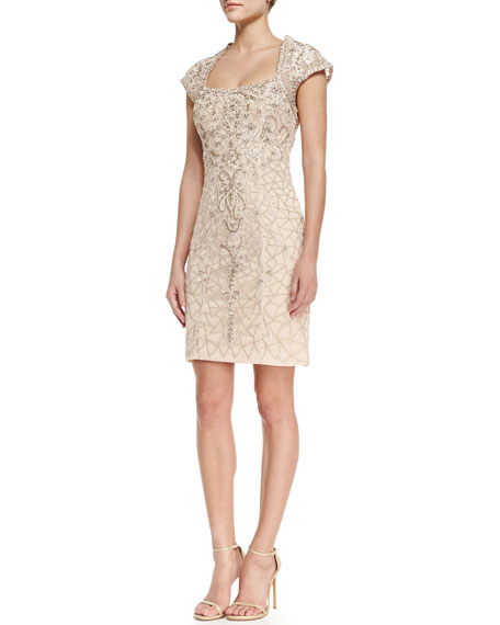 292ba4f907d Sue Wong Cap-Sleeve Embroidered Lace Cocktail Dress