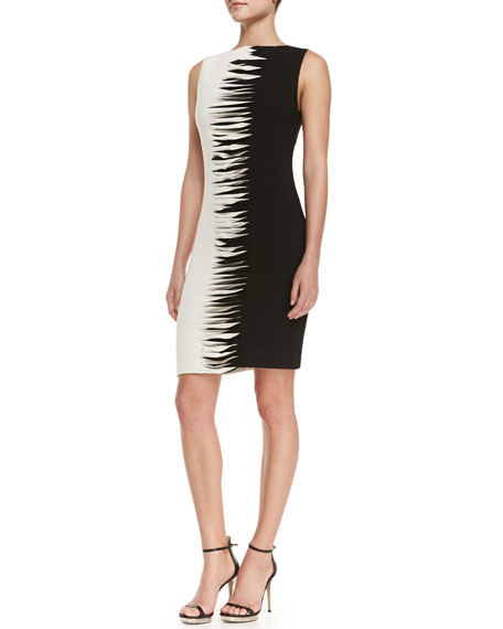 Nicole Miller Artelier Sleeveless Contrast Cross Sch Sheath Dress Black White