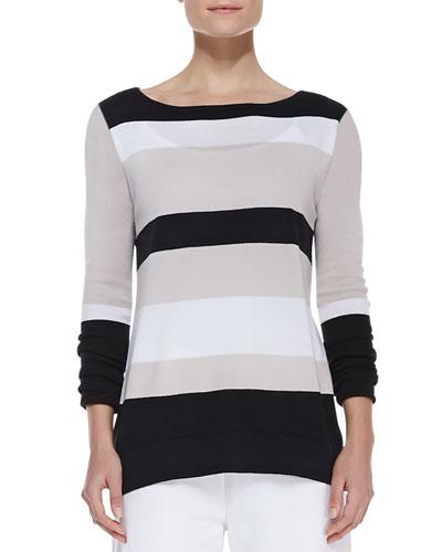 Bold-Striped Knit Easy Tunic, Petite