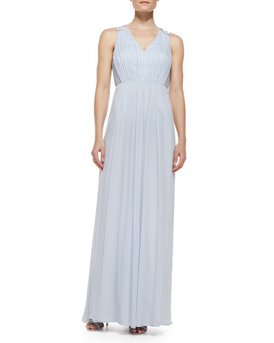 Sleeveless Beaded Shoulder & Back Gown, Sky Blue