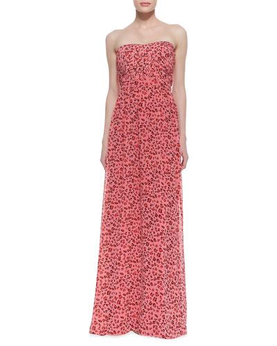 Strapless Animal-Print Gown, Geranium